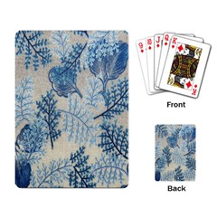 Flowers Blue Patterns Fabric Playing Card