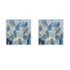 Flowers Blue Patterns Fabric Cufflinks (square)
