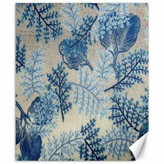 Flowers Blue Patterns Fabric Canvas 8  x 10