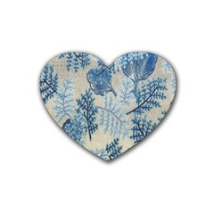 Flowers Blue Patterns Fabric Rubber Coaster (Heart)