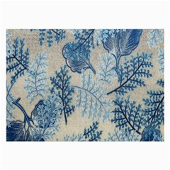 Flowers Blue Patterns Fabric Large Glasses Cloth (2-Side)