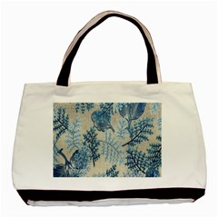 Flowers Blue Patterns Fabric Basic Tote Bag (Two Sides)