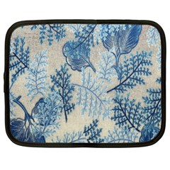 Flowers Blue Patterns Fabric Netbook Case (large)