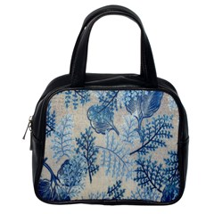 Flowers Blue Patterns Fabric Classic Handbags (One Side)