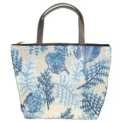Flowers Blue Patterns Fabric Bucket Bags