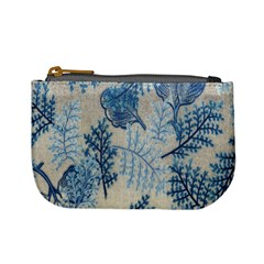 Flowers Blue Patterns Fabric Mini Coin Purses