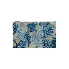 Flowers Blue Patterns Fabric Cosmetic Bag (Small)