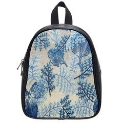 Flowers Blue Patterns Fabric School Bags (Small)