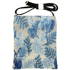 Flowers Blue Patterns Fabric Shoulder Sling Bags
