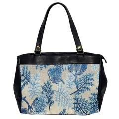 Flowers Blue Patterns Fabric Office Handbags (2 Sides)