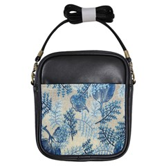 Flowers Blue Patterns Fabric Girls Sling Bags
