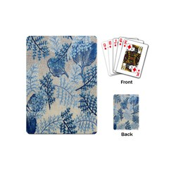 Flowers Blue Patterns Fabric Playing Cards (Mini)
