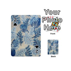 Flowers Blue Patterns Fabric Playing Cards 54 (Mini)