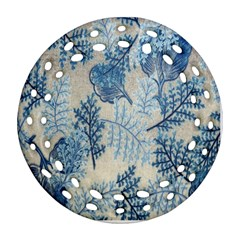 Flowers Blue Patterns Fabric Round Filigree Ornament (Two Sides)