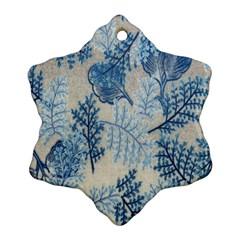 Flowers Blue Patterns Fabric Snowflake Ornament (Two Sides)