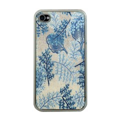 Flowers Blue Patterns Fabric Apple iPhone 4 Case (Clear)