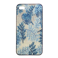 Flowers Blue Patterns Fabric Apple Iphone 4/4s Seamless Case (black)