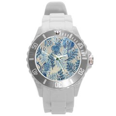 Flowers Blue Patterns Fabric Round Plastic Sport Watch (l)