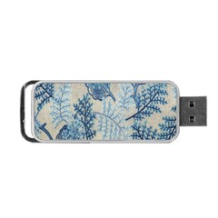 Flowers Blue Patterns Fabric Portable Usb Flash (one Side)