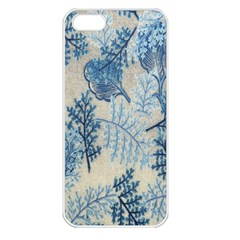 Flowers Blue Patterns Fabric Apple iPhone 5 Seamless Case (White)
