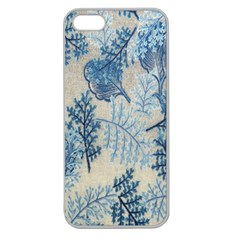 Flowers Blue Patterns Fabric Apple Seamless iPhone 5 Case (Clear)