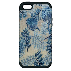 Flowers Blue Patterns Fabric Apple Iphone 5 Hardshell Case (pc+silicone)