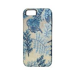 Flowers Blue Patterns Fabric Apple iPhone 5 Classic Hardshell Case (PC+Silicone)