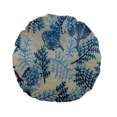 Flowers Blue Patterns Fabric Standard 15  Premium Round Cushions