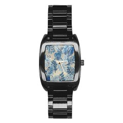 Flowers Blue Patterns Fabric Stainless Steel Barrel Watch
