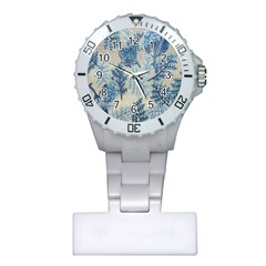 Flowers Blue Patterns Fabric Plastic Nurses Watch