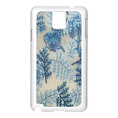 Flowers Blue Patterns Fabric Samsung Galaxy Note 3 N9005 Case (White)