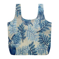 Flowers Blue Patterns Fabric Full Print Recycle Bags (L)