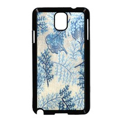 Flowers Blue Patterns Fabric Samsung Galaxy Note 3 Neo Hardshell Case (black)