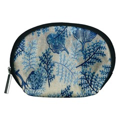 Flowers Blue Patterns Fabric Accessory Pouches (Medium)