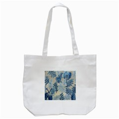 Flowers Blue Patterns Fabric Tote Bag (White)