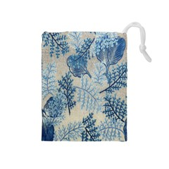 Flowers Blue Patterns Fabric Drawstring Pouches (Medium)