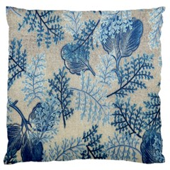 Flowers Blue Patterns Fabric Large Flano Cushion Case (one Side)