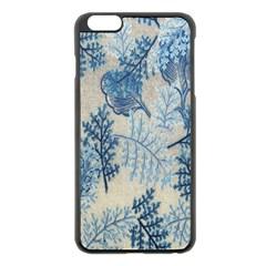 Flowers Blue Patterns Fabric Apple iPhone 6 Plus/6S Plus Black Enamel Case