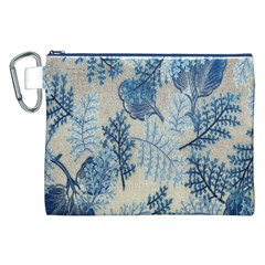 Flowers Blue Patterns Fabric Canvas Cosmetic Bag (XXL)