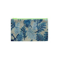 Flowers Blue Patterns Fabric Cosmetic Bag (xs)