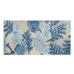 Flowers Blue Patterns Fabric Satin Shawl
