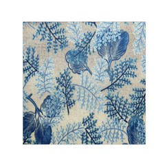 Flowers Blue Patterns Fabric Small Satin Scarf (square)