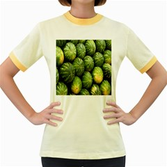 Food Summer Pattern Green Watermelon Women s Fitted Ringer T-Shirts