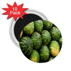 Food Summer Pattern Green Watermelon 2.25  Magnets (10 pack)