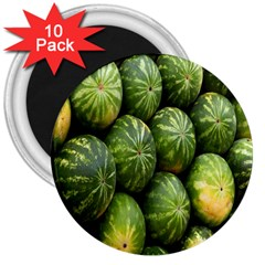 Food Summer Pattern Green Watermelon 3  Magnets (10 pack)