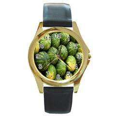 Food Summer Pattern Green Watermelon Round Gold Metal Watch