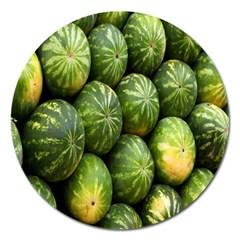 Food Summer Pattern Green Watermelon Magnet 5  (Round)