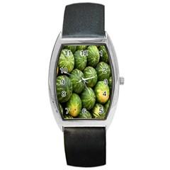 Food Summer Pattern Green Watermelon Barrel Style Metal Watch
