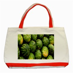 Food Summer Pattern Green Watermelon Classic Tote Bag (Red)