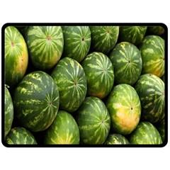 Food Summer Pattern Green Watermelon Fleece Blanket (Large)